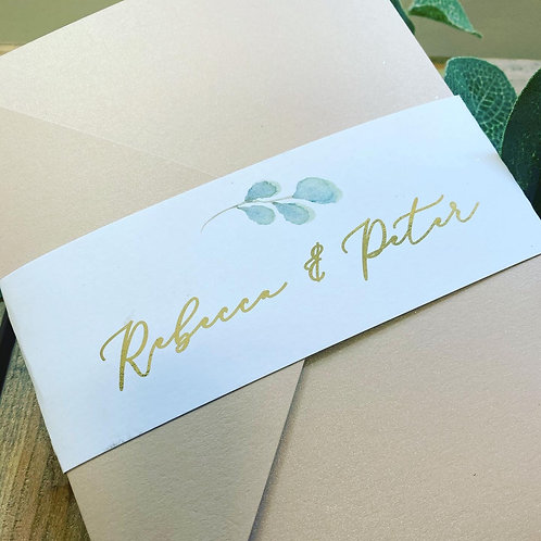 Rebecca Gold Foil Print Nude Pocket Wedding Invitation Sample