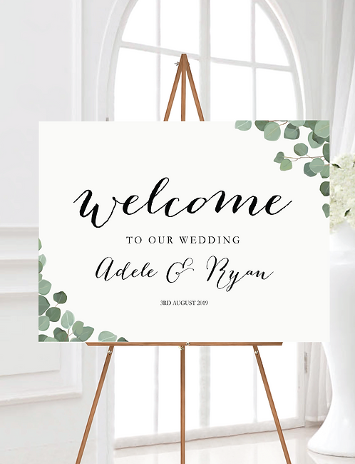 A2 landscape 'Adele' Wedding Welcome Wedding Sign