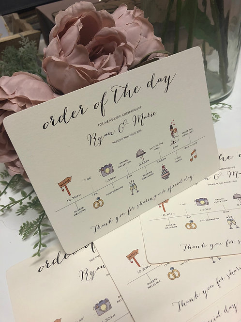 50 x C6 Personalised Wedding Order of the Day guest information time line cards