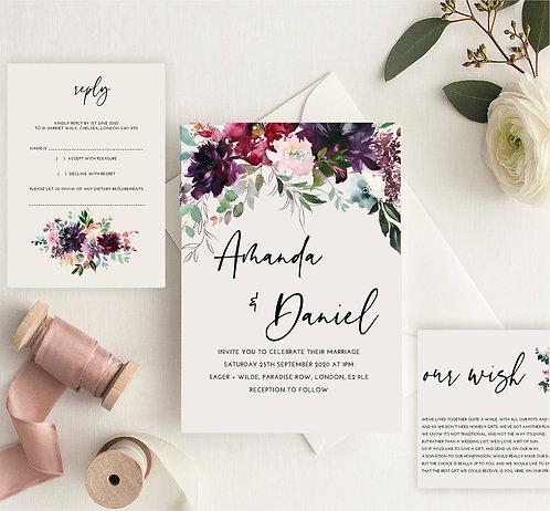 Amanda Wedding Invitation sample including RSVP and wish card
