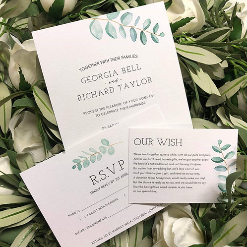 Georgia Wedding Invitation sample with RSVP & Wish card