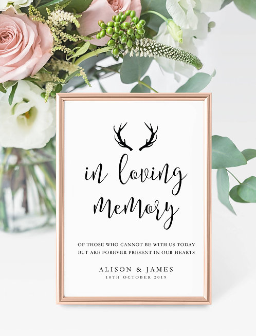 Antler design personalised 'Loving Memory' sign-UNFRAMED