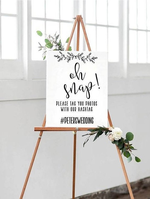 A4 'Oh Snap' white Wedding, party, birthday sign