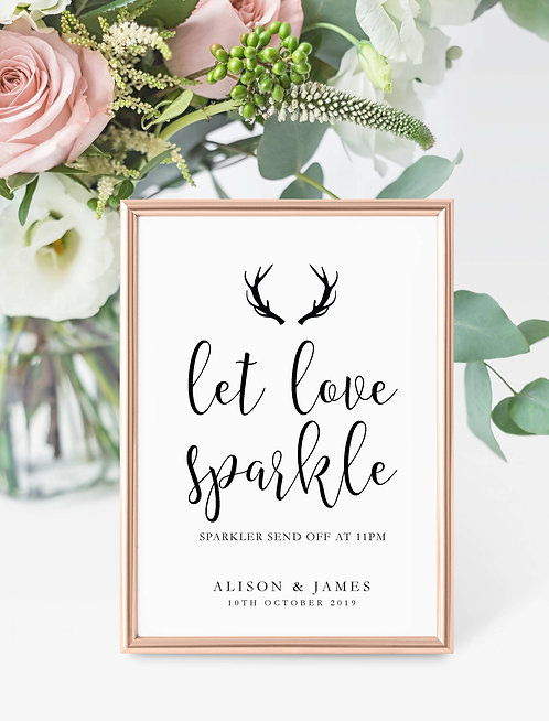 Antler design personalised 'Let love sparkle' sparkler sign-UNFRAMED