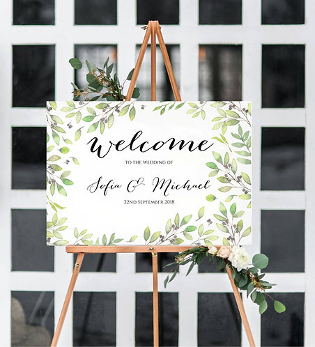 A3 unframed Maria leaf print landscape Sign 'Welcome to the Wedding of'
