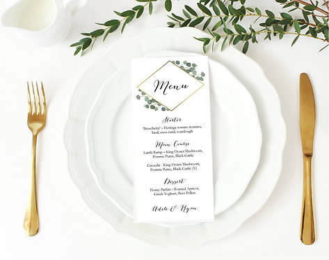 40 x Personalised 'Adele' table menus