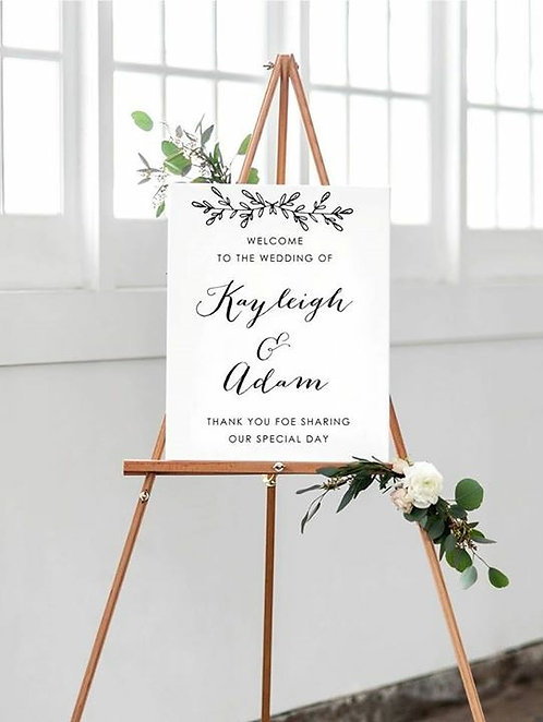 A3 Personalised design Welcome Wedding sign matching our Scarlet Range-BACKED