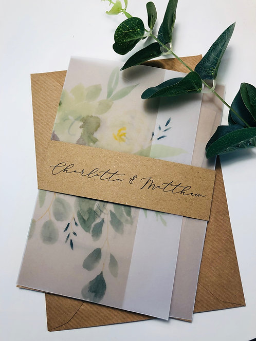 Charlotte vellum floral invitation kraft brown card set SAMPLE