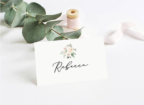 6 x Personalised Rebecca Botanical Rectangle Place Name Cards