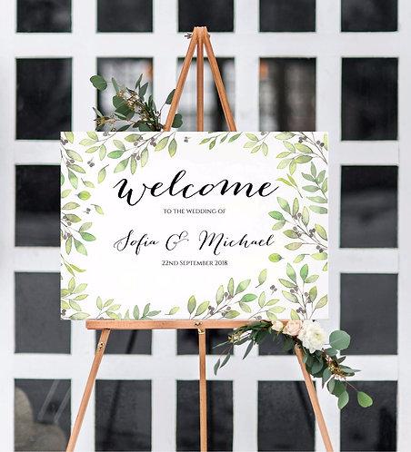 A2 landscape 'Maria' Wedding Welcome Wedding Sign