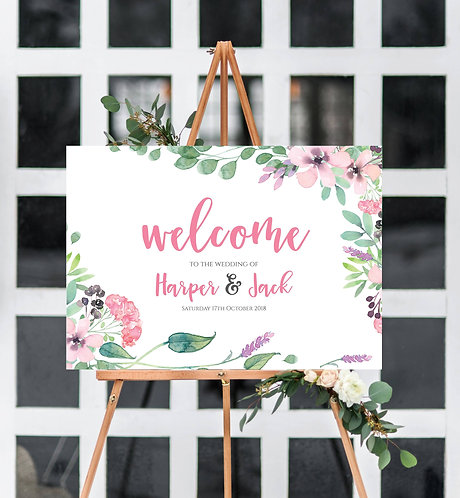 A3 unframed landscape Harper Wedding Welcome Sign