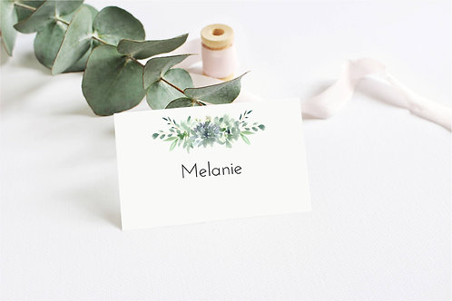 6 x Personalised Melanie Floral Rectangle Place Name Cards