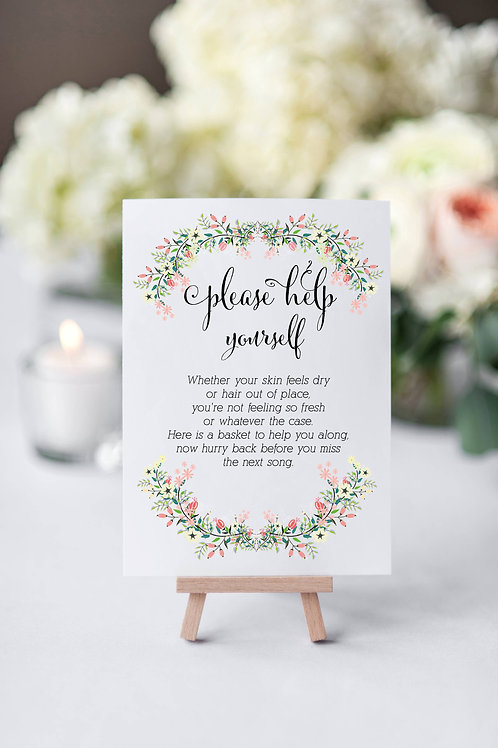 Floral Berry Wedding/Party Toiletries/Bathroom sign