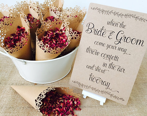 10 x Rustic Wedding DIY kraft laser cut Confetti Cones & sign pack