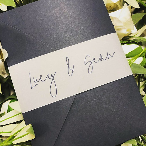 Lucy Navy pocket Wedding Invitation with vellum wrap