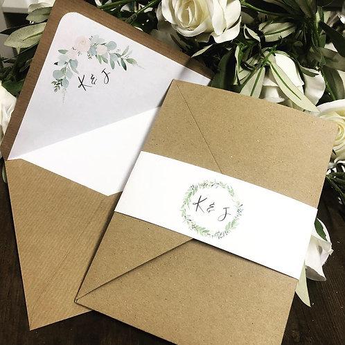kraft floral greenery Katrina pocket wedding invitation/RSVP sample