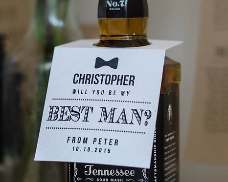Personalised 'Thank you for being my Best Man' bottle tag