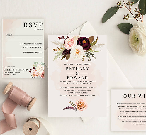 Bethany Wedding Invitation sample including RSVP and wish card