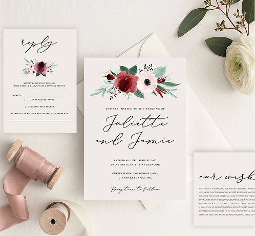 Juliette Wedding Invitation sample including RSVP and wish card