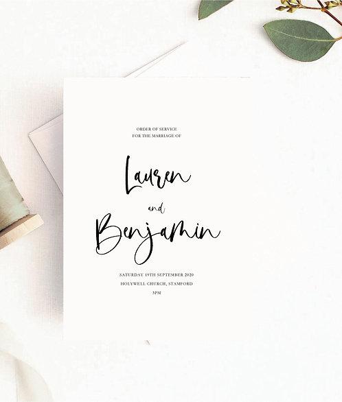 25 x Lauren Modern Script Font Order of Service Covers