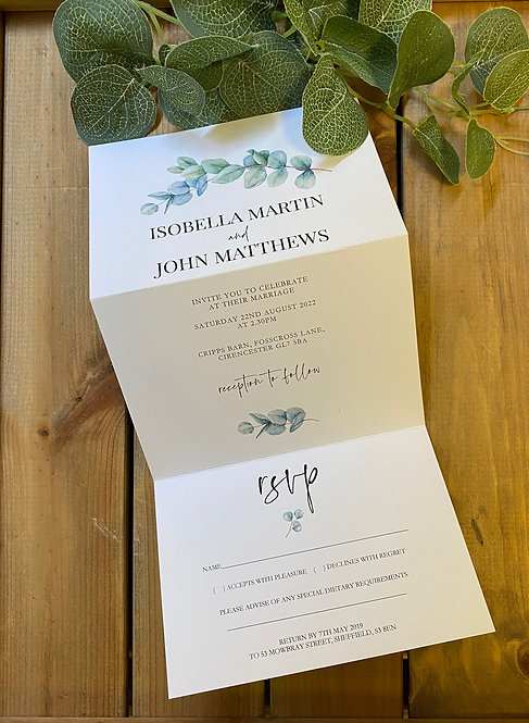 Botanical greenery Concertina Wedding Invitation Sample Isobella