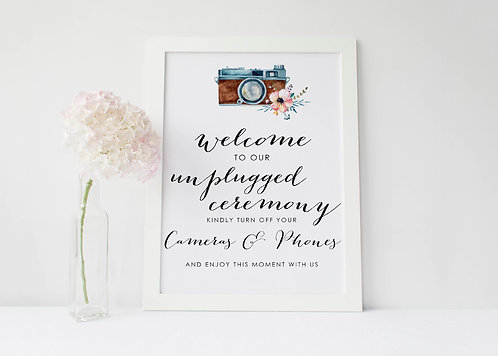 A3 'Welcome to our unplugged Ceremony' No phone/camera Request Wedding Sign
