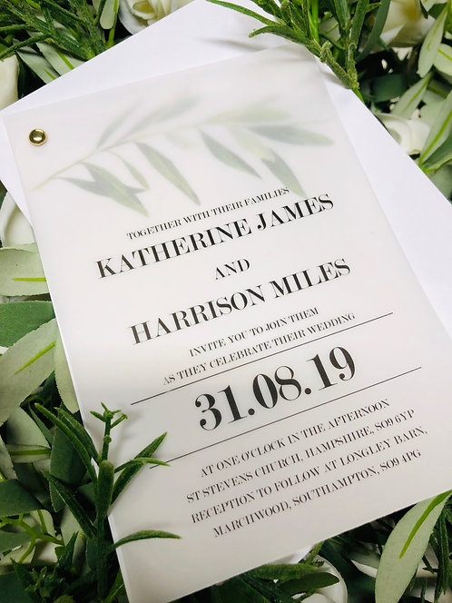 Katherine vellum botanical invitation card SAMPLE &RSVP, wish card & envelopes
