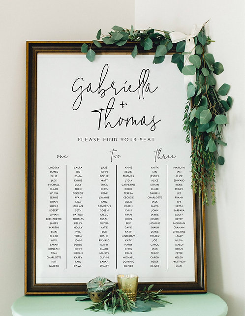 Gabriella elegant A1 Wedding Seating/Table plan-unframed