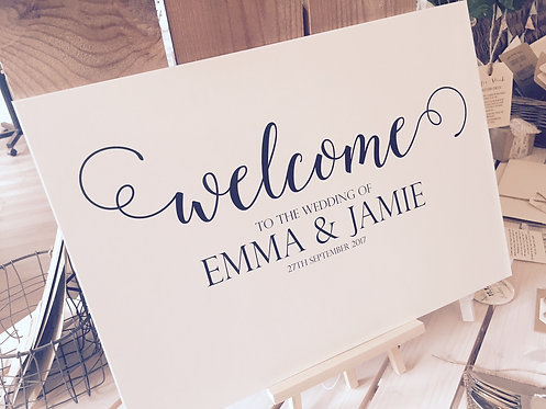 A1 landscape 'Welcome' Wedding/Party sign - BACKED