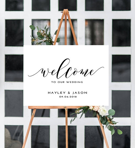 A3 landscape 'Hayley' Wedding Welcome Sign - BACKED