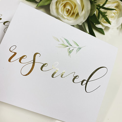 Gold foil printed tent fold Reserved sign