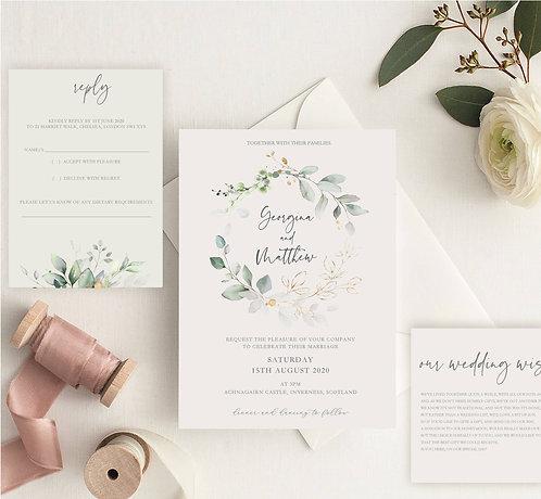 Georgina Wedding Invitation sample including RSVP and wish card