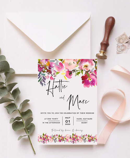 Hattie Wedding Invitation sample including RSVP and wish card