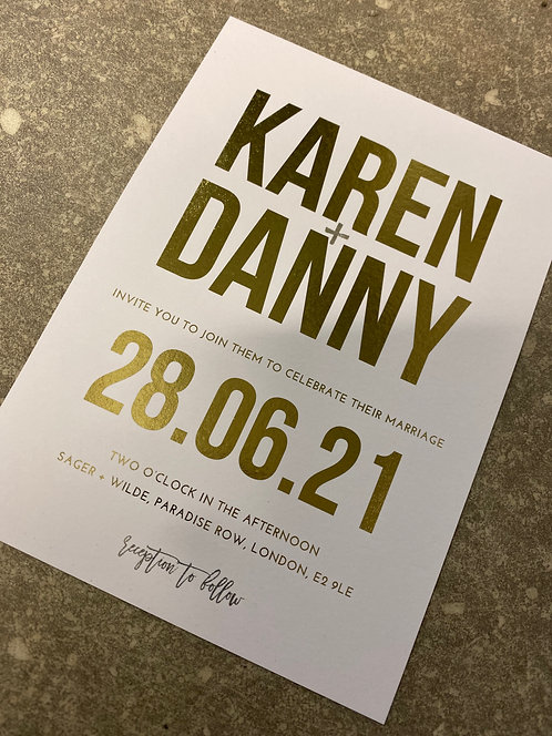 Modern 'Karen' Metallic gold foil block print Wedding invitation/RSVP/Wish Card/