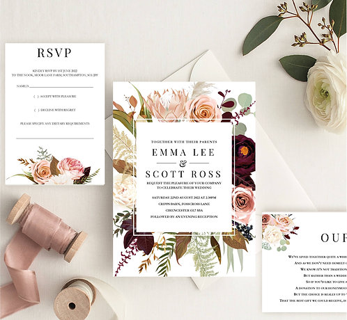 Emma Wedding Invitation sample including RSVP and wish card