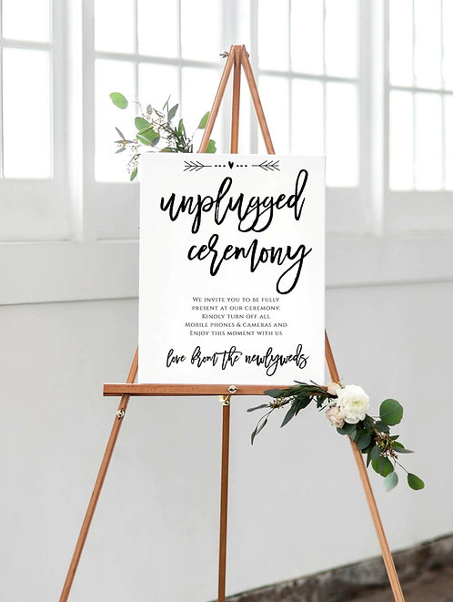 A3 Unplugged Ceremony sign for those special occasions- UNBACKED