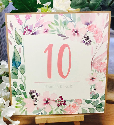 Personalised Rustic 'Harper' floral wedding/anniversary/party table number