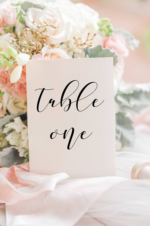 1 Cheryl C6 size single card table number printed on thick linen white card