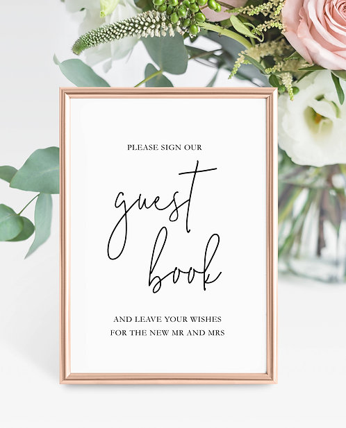 Unframed Gabriella A5 Wedding Sign- Guest Book