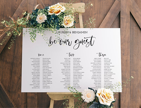 Lauren elegant A1 Wedding Seating/Table plan-Be our Guest