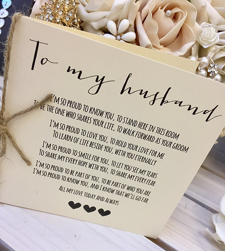 'To My Husband' Same-Sex Wedding Day Poem Card