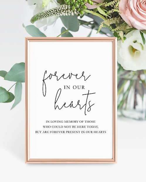 Unframed Gabriella A5 Wedding Sign- Forever in our Hearts