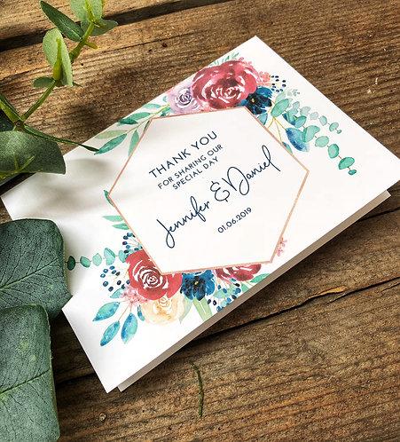 Personalised Floral Geometric 'Jennifer' Wedding Thank you card & envelope