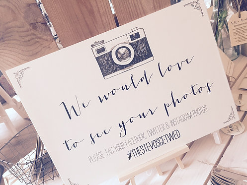 A4 Wedding Camera Instagram/facebook/twitter sign