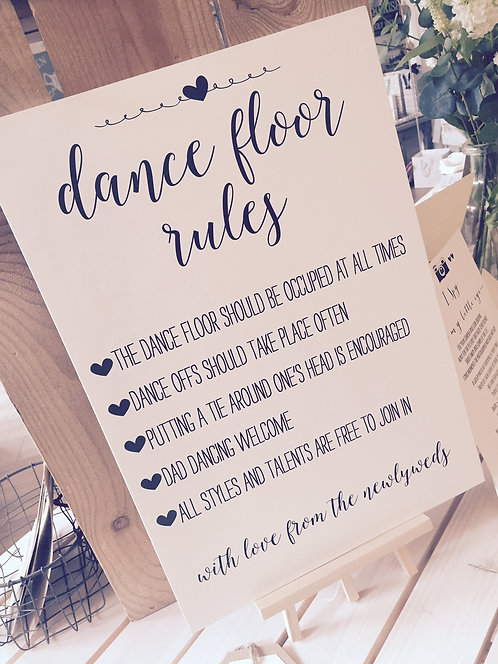 Rustic A3 'Dance Floor Rules' Wedding sign - BACKED