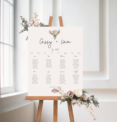 Cassy A1 Wedding Seating/Table plan