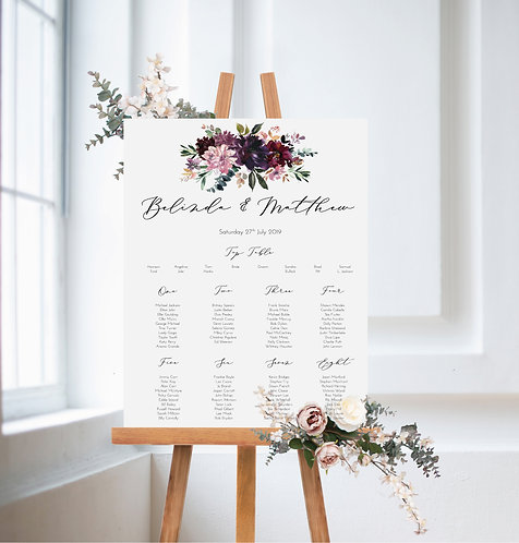 Belinda floral A2 Wedding Seating/Table plan