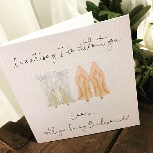 'Shoes' Will you be my Bridesmaid invite card with envelope