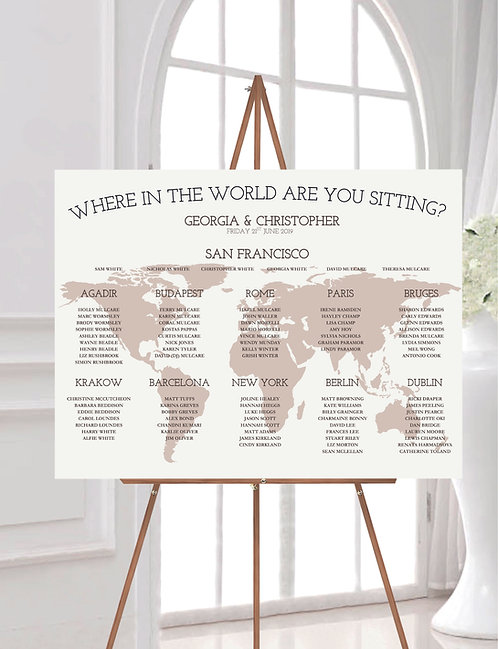 Where in the World are you Sitting? A1 Wedding Seating/Table plan