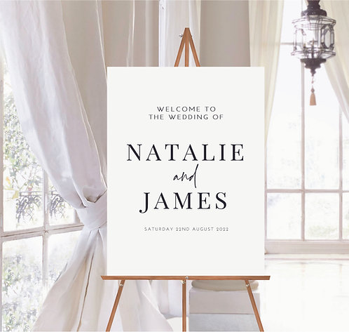 Natalie white with black text A2 Wedding foam backed welcome sign